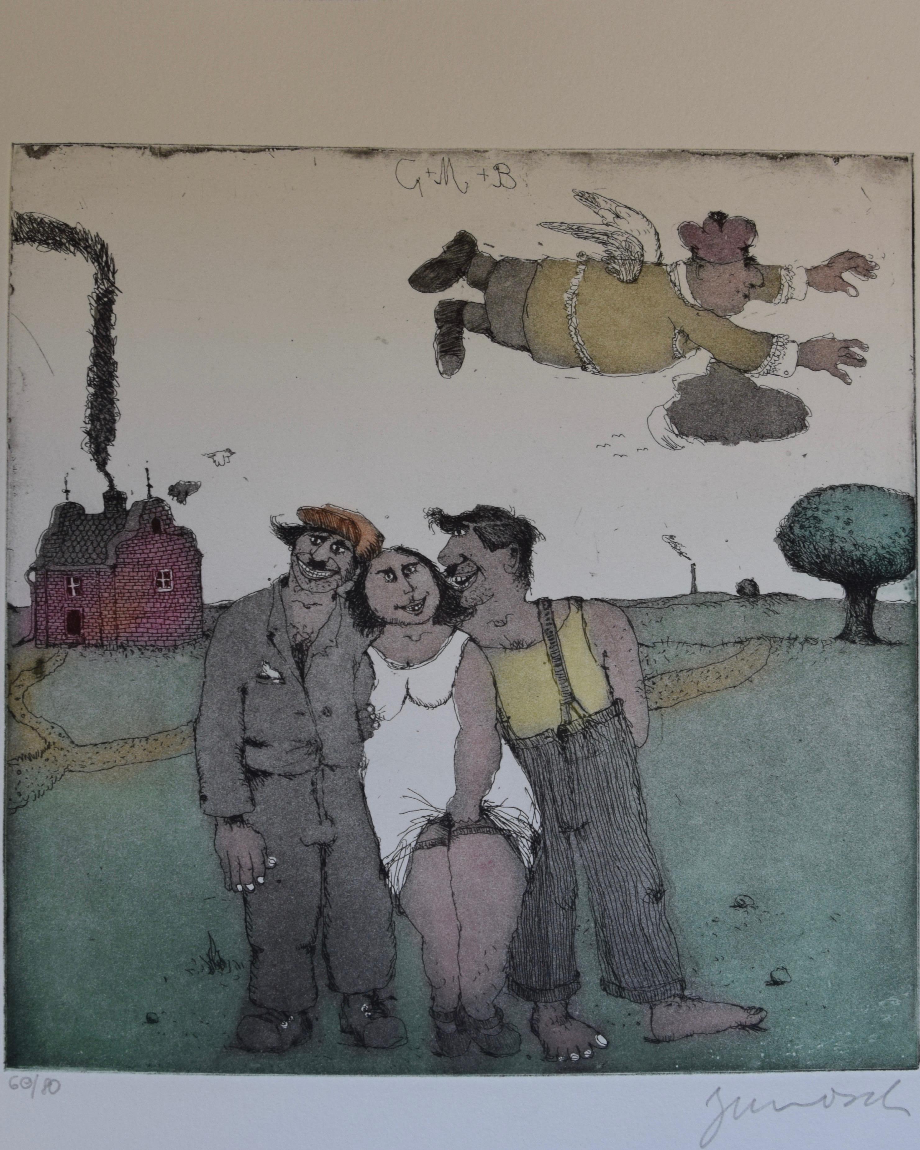"""Dies ist das erste Motiv aus dem Mappenwerk """"Cholonek oder der liebe Gott aus Lehm"""" von Janosch"""