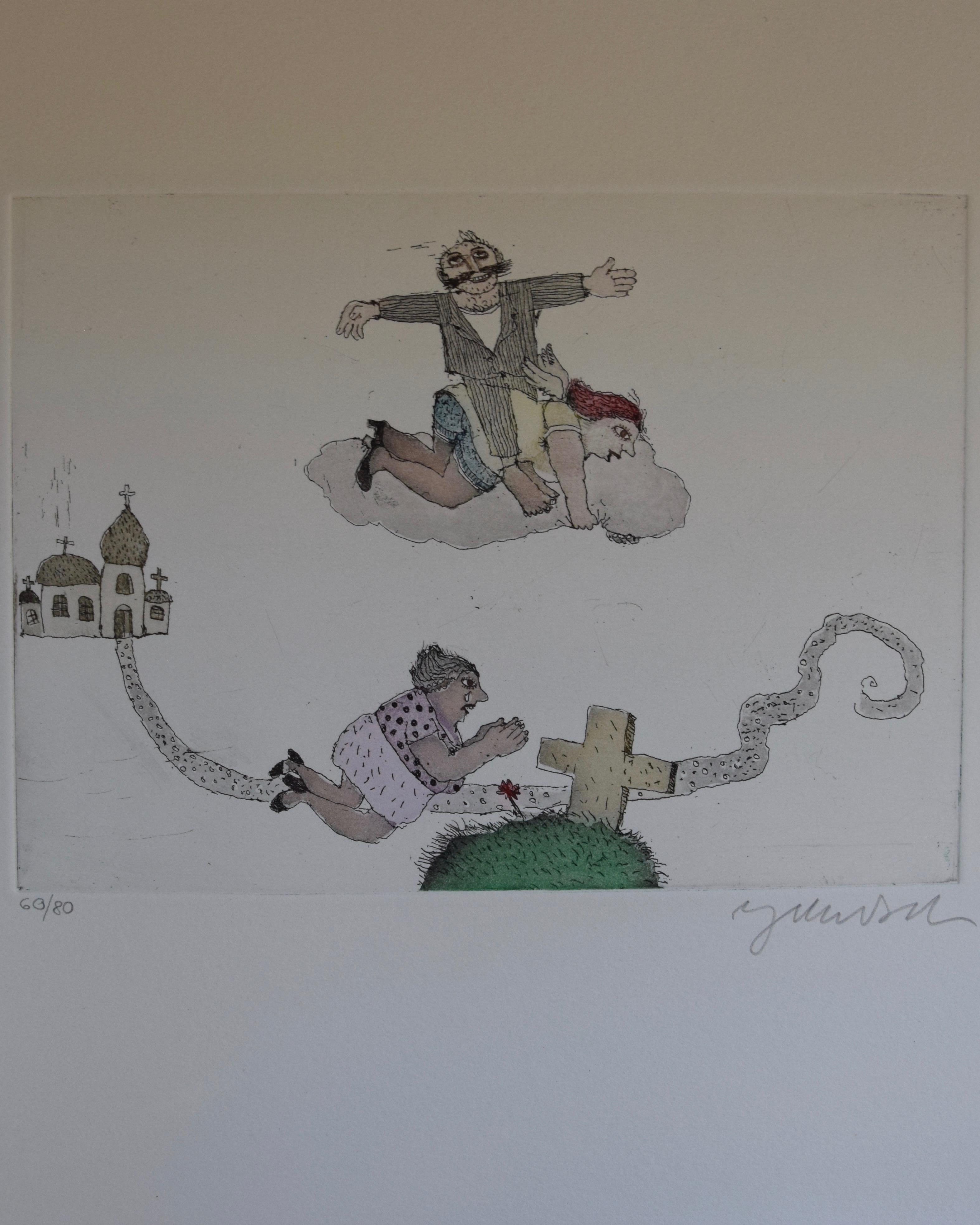 """Dies ist das dritte Motiv aus dem Mappenwerk """"Cholonek oder der liebe Gott aus Lehm"""" von Janosch."""