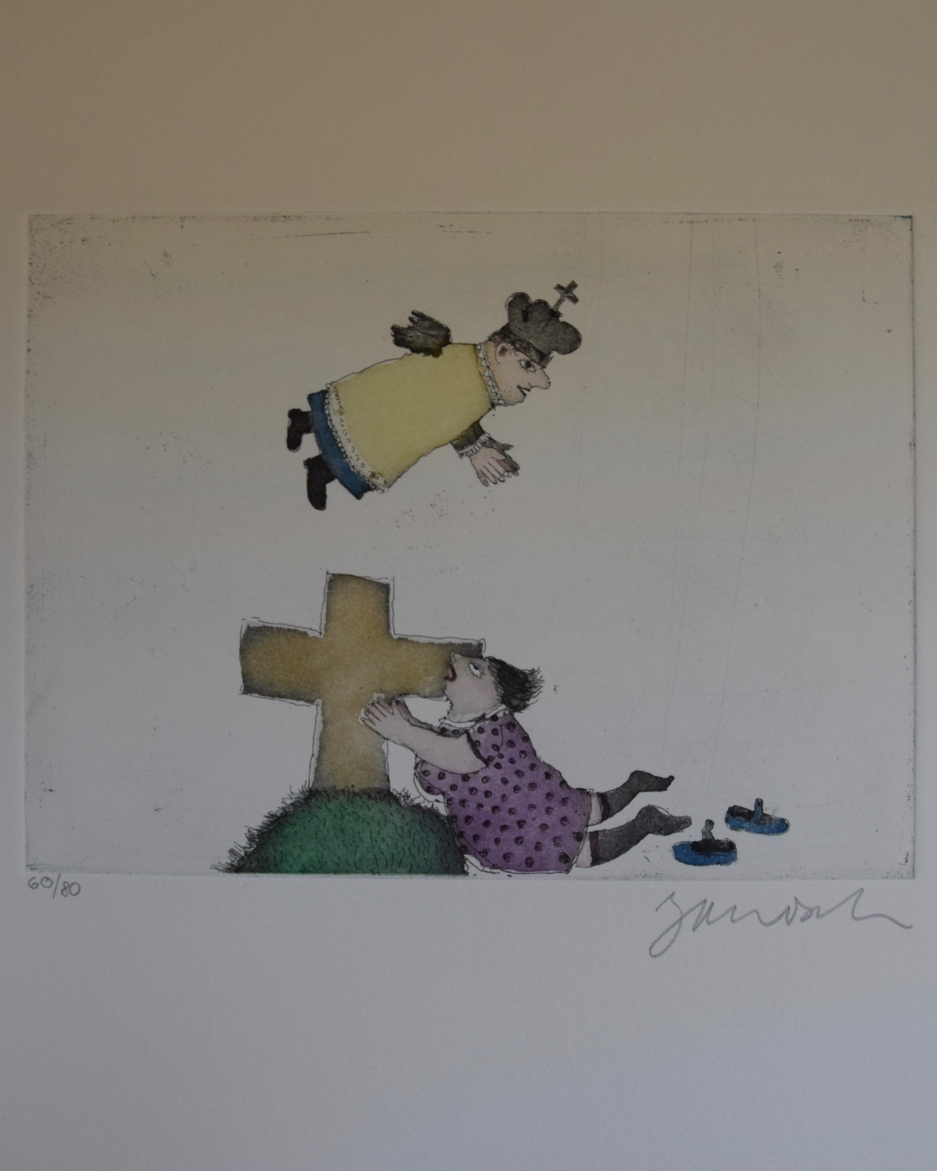 """Dies ist das vierte Motiv aus dem Mappenwerk """"Cholonek oder der liebe Gott aus Lehm"""" von Janosch."""