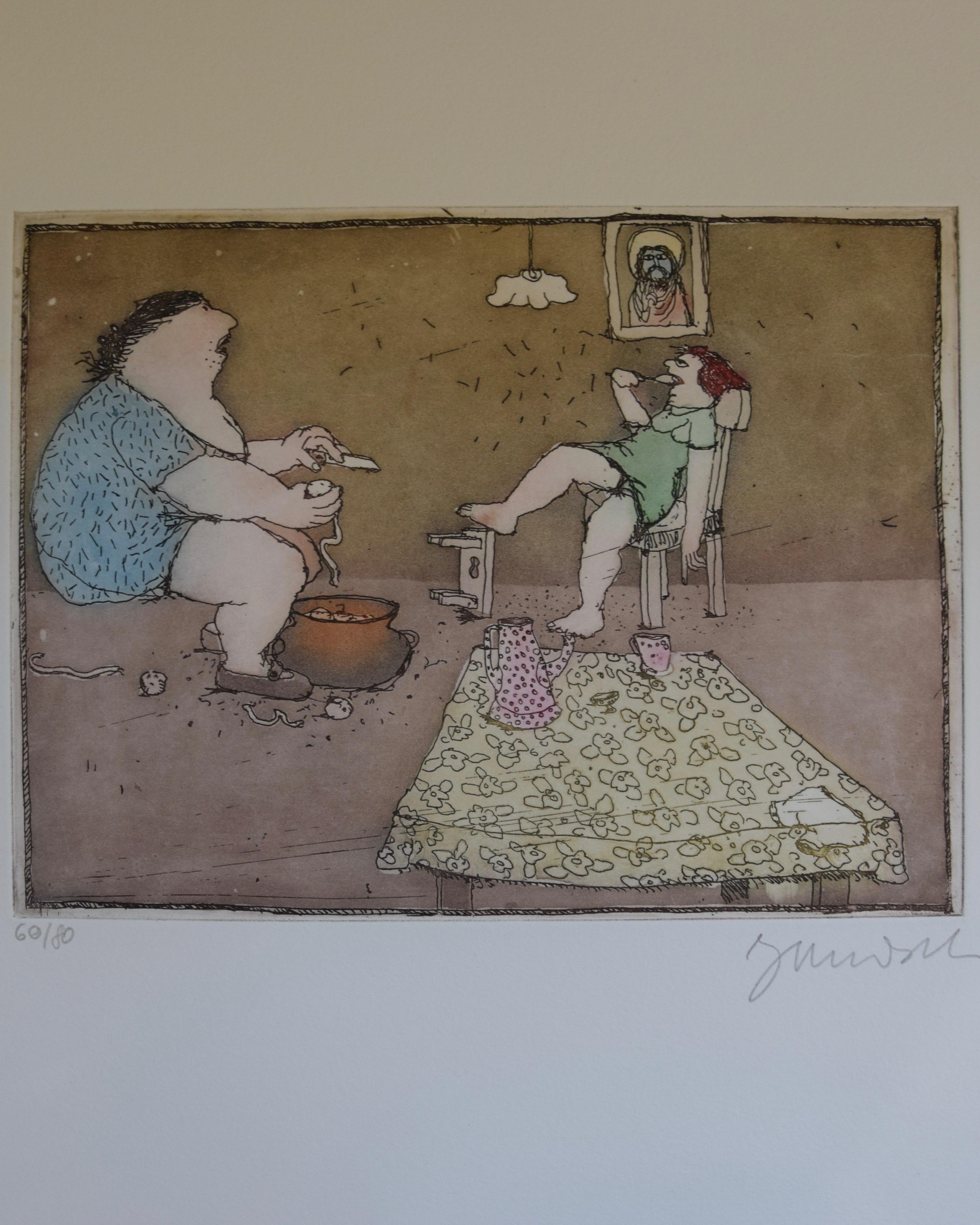 """Dies ist das fünfte Motiv aus dem Mappenwerk """"Cholonek oder der liebe Gott aus Lehm"""" von Janosch."""